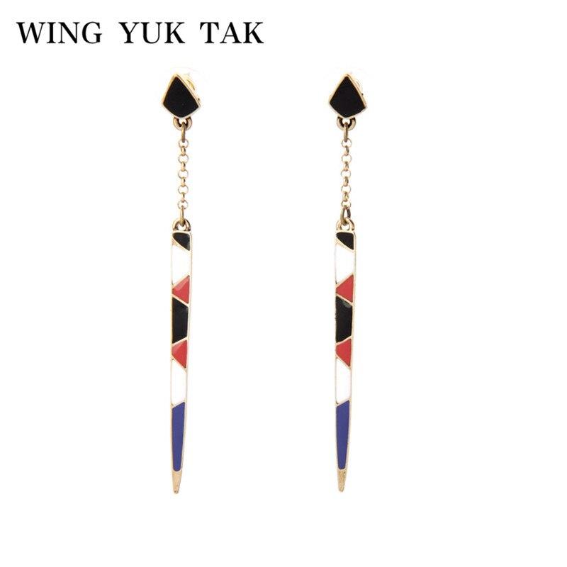 Wing Yuk Tak Fashion Romantic Women Brand Jewelry Triangle Long Colorful Enamel Strip Drop Earrings For Women Factory Wholesale