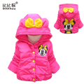 Baby girls Jackets & Coats winter warm Minnie style jackets coats coral cartoon hoody outerwear baby clothing 3colors
