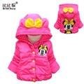 Meninas do bebê Casacos & Coats inverno quente jaquetas casacos de Minnie estilo coral dos desenhos animados com capuz outerwear roupa do bebê 3 cores