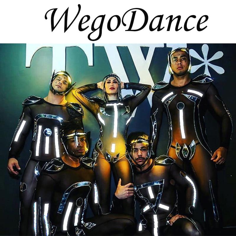 Sexy See-through Mesh Fluorescence Mirror Jumpsuit Reflective Elastic Leotard Club Bar Lady Dance Team Jazz Pole Dancing Costume