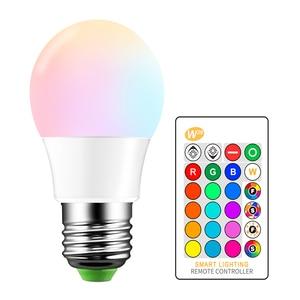 Image 1 - E27 LED 16 Color Changing RGB Magic Light Bulb Lamp 85 265V 110V 120V 220V RGB Led Light Spotlight + IR Remote Control