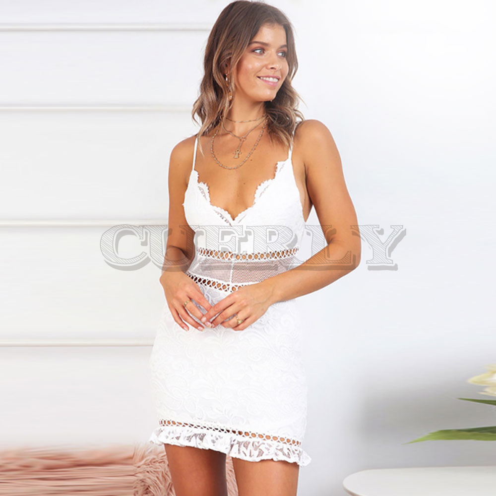 CUERLY Sexy White Women Summer Dress 2019 Backless V neck Ruffle Cotton Lace Dresses Holiday Beach Short Female Bodycon Vestido in Dresses from Women 39 s Clothing