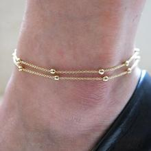 Free shipping! Wholesale 2016 Summer Hot Sale Gold Plated Round Beads Double Chains Foot Anklets bracelets. Smart bangles