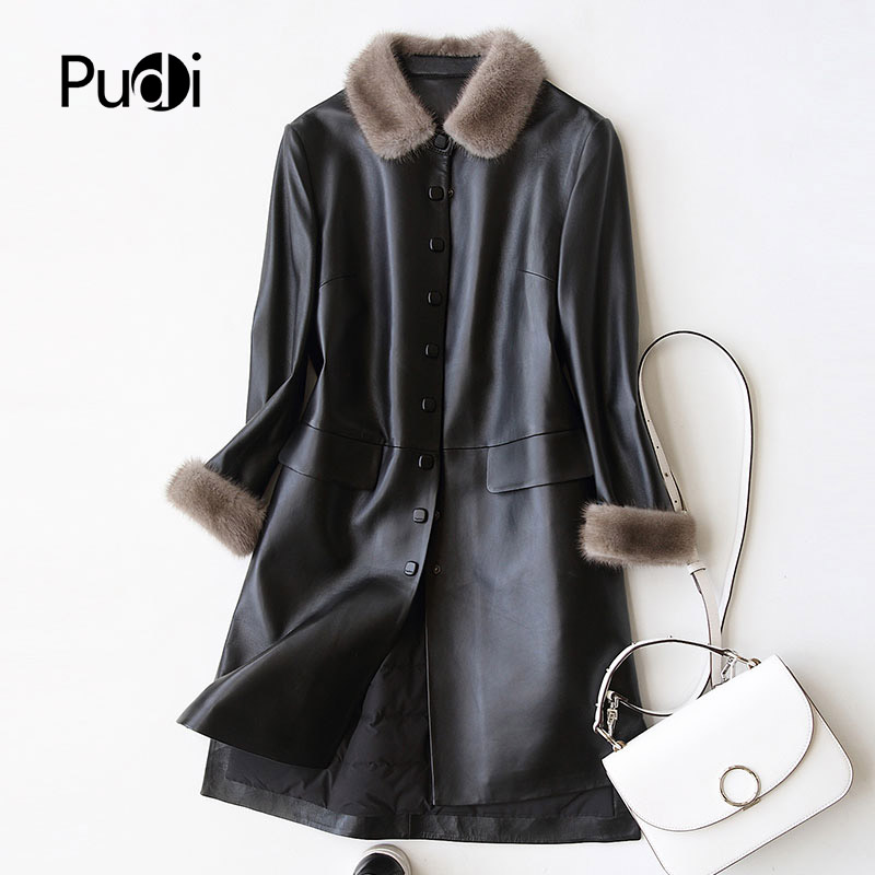 PUDI A27953 Real sheep skin coat jacket overcoat women s winter warm mink fur coat genuine