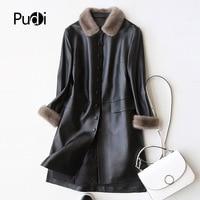 PUDI A27953 Real sheep skin coat jacket overcoat women's winter warm mink fur coat genuine leather inside winter coat