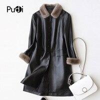PUDI A27953 натуральная овчина куртка, пальто женская зимняя теплая норковая шуба из натуральной кожи внутри зимнее пальто