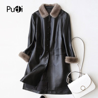 PUDI A27953 Real sheep skin coat jacket overcoat women's winter warm mink fur coat genuine leather inside winter coat