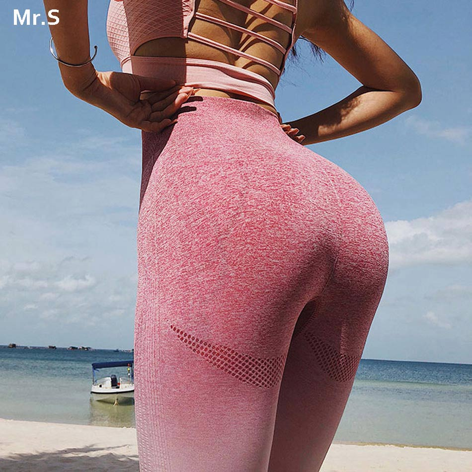 Energie Nahtlose Leggings Hohe Taille Ombre Yoga Hosen Workout Gym Leggings Scrunch Butt leggings Gradient Sport Yoga Leggings