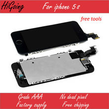 For iPhone 5s LCD Display Touch Screen Digitizer Assembly Complete (Home Button Front Camera Earspeaker For iPhone5s)White Black