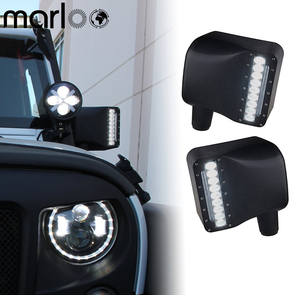 Marloo Wrangler Side View Mirror Kit Rear View Mirror Housing with Turn Signal Light For JEEP JK JKU 2007-2017