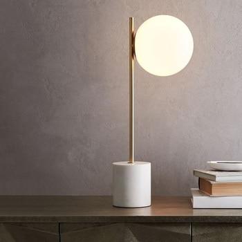 LukLoy Nordic Modern Minimalist LED Table Lamps for Living Room White Glass Ball Table Light Iron Marble Desk Light Studying