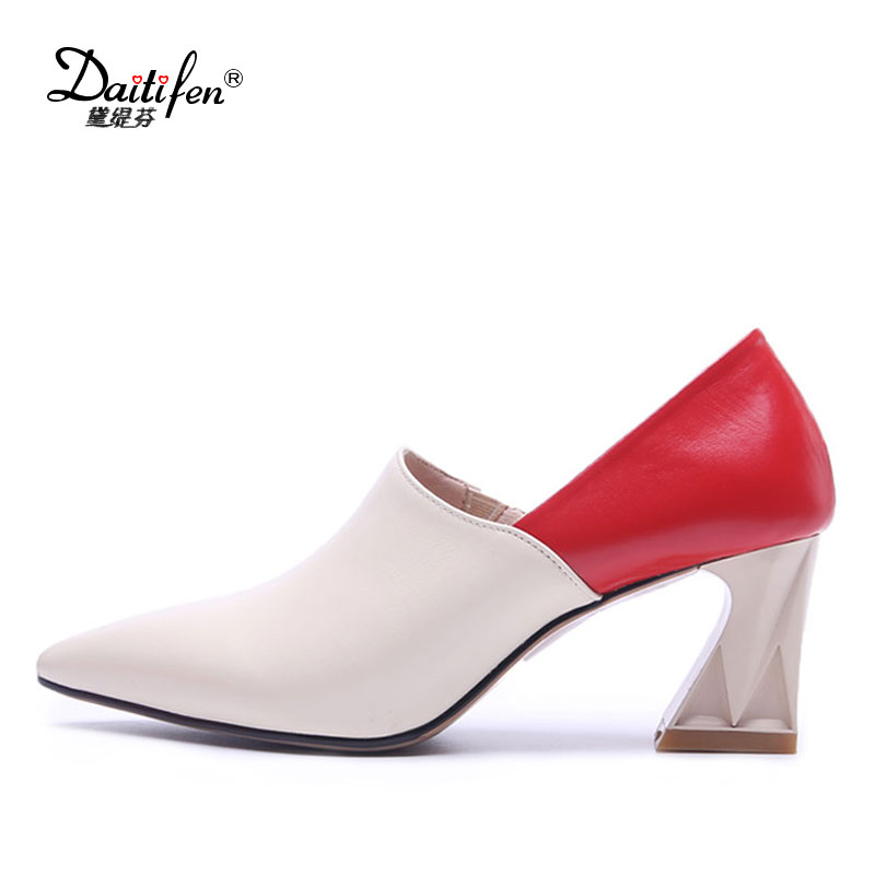 Para Mujer Zapatos Con beige Punta black 5cm Colores De Mezclados 5cm 6  Black Genuino Cuero 4cm Casuales Puntiaguda black 2cm Tacones ... 2843b46f1811