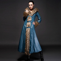 winter Couture leather padded jacket PU slim hooded Raccoon Fur Collar Coat lengthened super