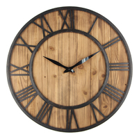 60cm Large Wall Clock Vintage Design Watch Wrought Metal Wooden Industrial Iron Retro Clock Saat Classic