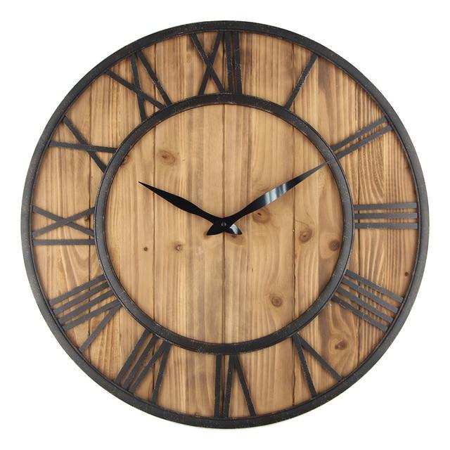 60 Cm Große Wanduhr Vintage Design Uhr Schmiedeeisen Metall Holz  Industriellen Eisen Retro Uhr Saat Klassische