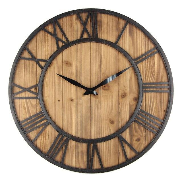 60cm Large Wall Clock Vintage Design Watch Wrought Metal Wooden Iron Retro Saat Clic