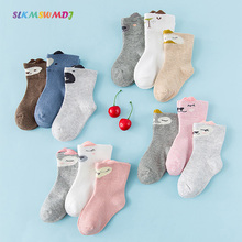 SLKMSWMDJ Spring Autumn new cotton Unisex cute cartoon three-dimensional childrens baby socks for 0-5 years old 3 pairs