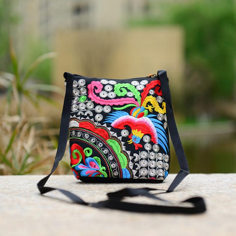 Fashion Women Ethnic Peony Min Shoulder Bag Embroidery Crossbody Handbag Tote Random Color WF 668