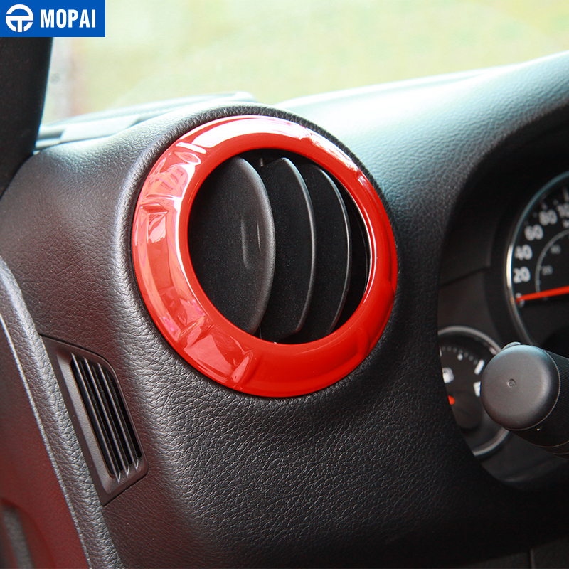 Image 2 - MOPAI Car Dashboard Steering Wheel Speaker Air Vent Interior Decoration Cover Kit for Jeep Wrangler JK 2007 2010 Car Accessories-in Automotive Interior Stickers from Automobiles & Motorcycles