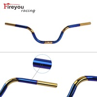 Blueing 22mm 7/8 Flat Motorcycle Front Handle Bar Lever Stainless Steel Dirt Pit Bike Motocross Off Road Steering wheel Alpha