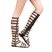 d4e56bac0 2018 new women knee high sexy gladiator sandals shoes woman flip flop cut- outs zipper flat rome sandals zipper size 36-43