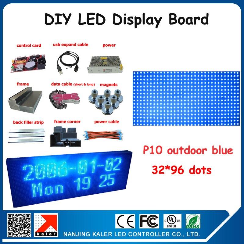 6 шт. 320*160 мм p10 светодиодный дисплей модули открытый водонепроницаемый рекламный светодиодный экран доска 104*40 см синий цвет p10 Открытый