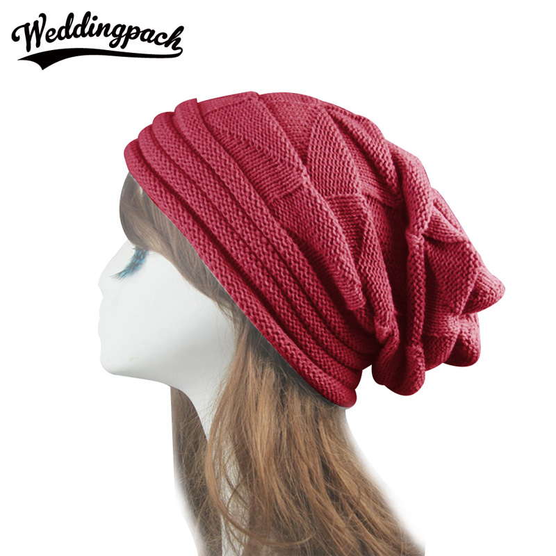 Knitted Women Beanie Hats Solid Crochet Slouchy Beanies Autumn Winter Men Skullies Hip Hop Diamond Lattice Hats Gorros Homens 2016 winter women beanie adults hip hop hats diamond vogue men hats knitted ski skullies bonnet crochet casquette gorros de lana