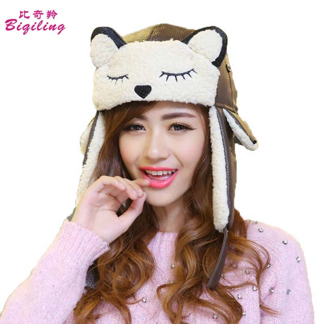 72d3af7ead7 Cute PU Russian Men Women Winter Hats Keep Warm Lambwool Hat Fur Earmuff  Thick Snow Cap