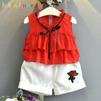 babzapleume Summer Korean Kids Clothes Sleeveless T-shirt+White Shorts Baby Girls Costume Children Clothing Set 2PCS Suit BC1349