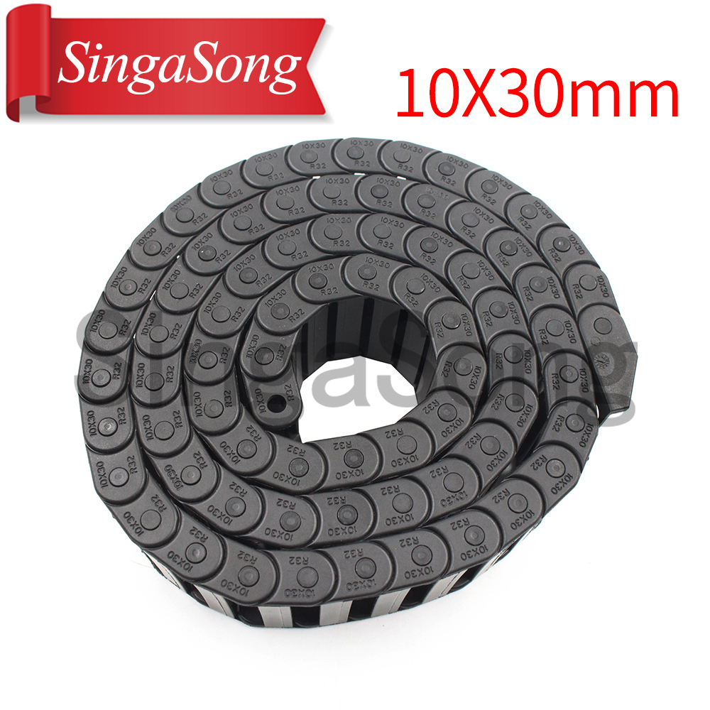 Free Shipping 10 x 30mm 10*30mm L1000mm Cable Drag Chain Wire Carrier with end connectors for CNC Router Machine Tools