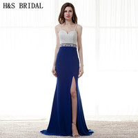 H S BRIDAL Sweetheart Royal Blue Evening Dresses Long White Spaghetti Straps Crystal Beaded Formal Evening