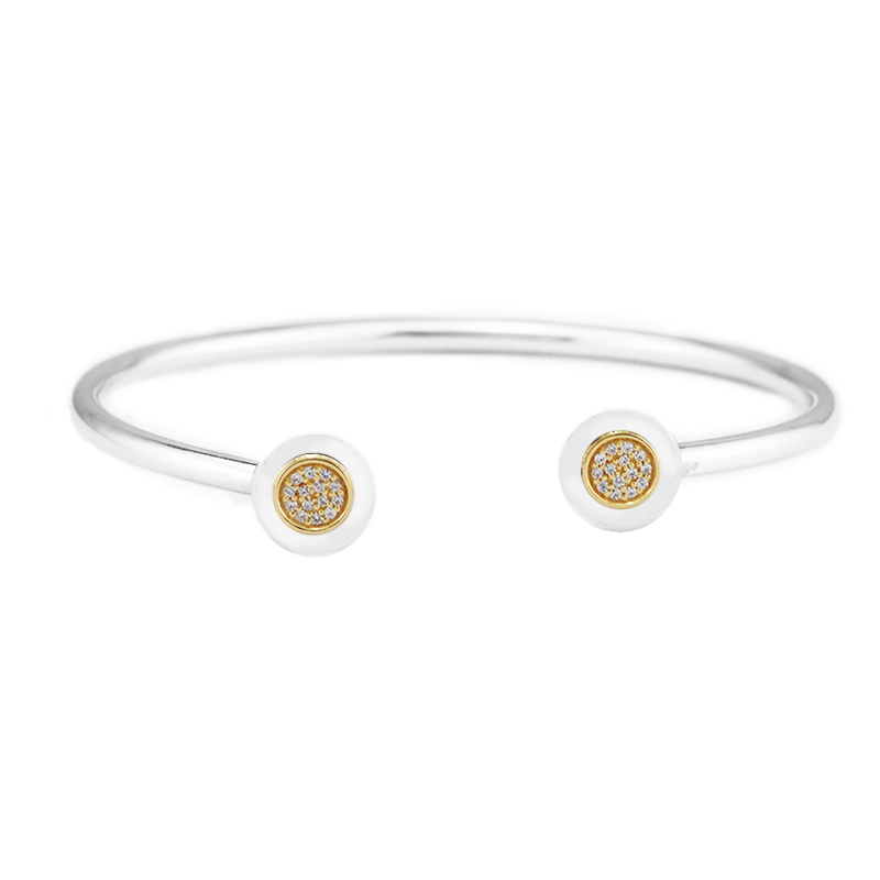 925 Sterling Silver Jewelry Signature Bangle Bracelet with Clear CZ and Real 14K Gold Fine Jewelry Trendy Bangles for Women 049K 925 sterling silver jewelry signature bangle bracelet with clear cz and real 14k gold fine jewelry trendy bangles for women 049k