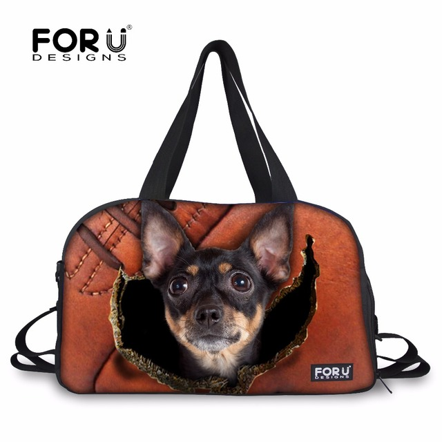 FORUDESIGNS Luggage Traveling Bags for Women Chihuahua Crazy Dogs Duffel  Tote Large Canvas Hamster Bags Girls Shoulder Handbags 5e33e5d2786ee