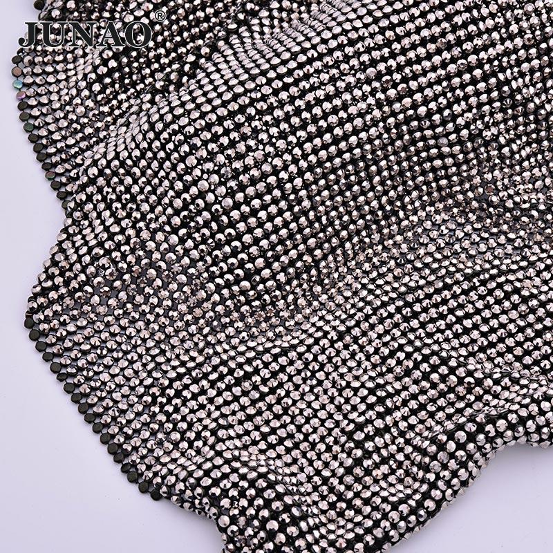 JUNAO 45 120cm Black Gold Crystal Mesh Fabric Rhinestone Sheet Aluminum Metal Trim Resin Crystal Ribbon