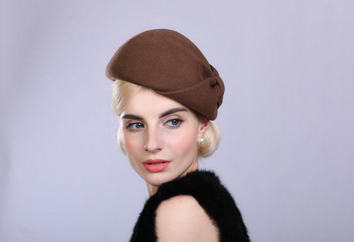 f160a46094787 Fibonacci Noble Elegant Women Wool Felt Beret Bride Headdress Fedora Hat  Dinner Party Wedding Hats. 11 12 13 14 15 16 17 ...