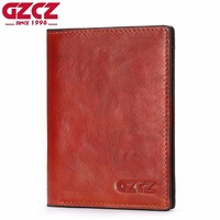 GZCZ Genuine Leather Small Wallet Female Passport Cover Luxury Brand Women Walet Card Holder Mini Purse