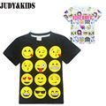 Подростки дети мальчики девочки футболка 2017 новый стиль Emoji печати с коротким рукавом футболка для детей мода nova новинка подросток одежда