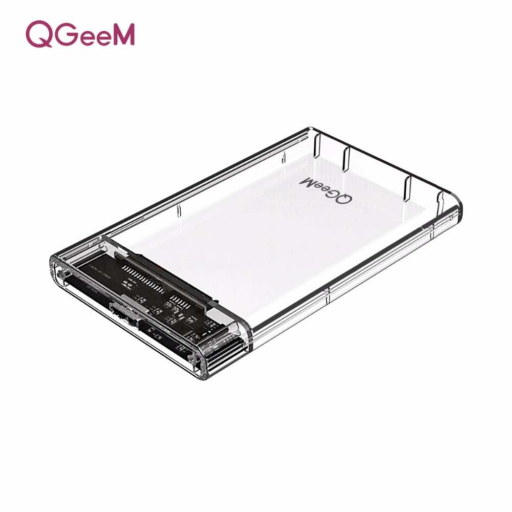 QGeeM HDD Enclosure 2.5 inch SATA to USB 3.0 SSD Adapter Hard Disk Drive Box for Samsung Seagate SSD 1TB 2TB External HDD Case