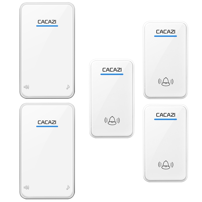 CACAZI AC 100-240V door bell 3 waterproof buttons+2 receivers wireless doorbll 48 rings door chime UK/US/EU plug ring bell 2 receivers 60 buzzers wireless restaurant buzzer caller table call calling button waiter pager system