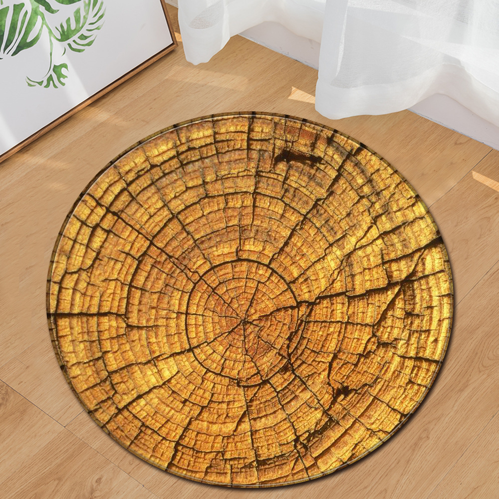 Wood Grain Printed Round Rug Computer Chair Floor Mat Hallway Floor Mat Round Carpet for Bedroom Kids Play Mat Round Rug Mat