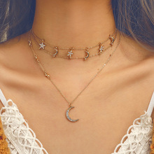 Gold Chain Sea Shell Moon Star Pendant Necklace for Women Seashell Cross Layered Chokers Summer Women's Fashion Necklaces 2019 docona bohemia new fashion round cross moon star shape gold color chokers chains necklace pendant for women ladies jewelry