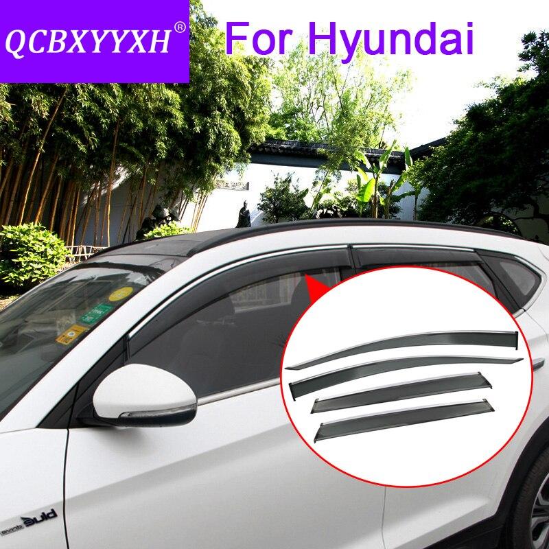 QCBXYYXH Car Styling 4pcs lot Window Visors For Hyundai Tucson Elantra IX25 IX35 IX45 I30 Verna