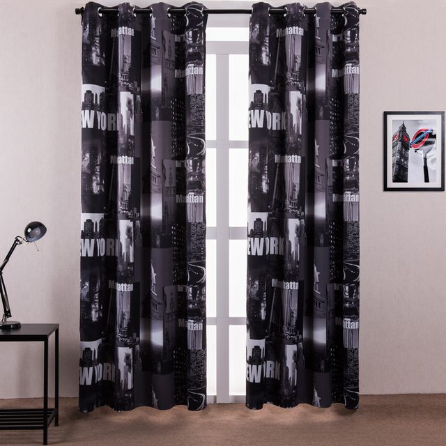 Window Curtain Living Room Printed New York Letters Chinese Curtains ...
