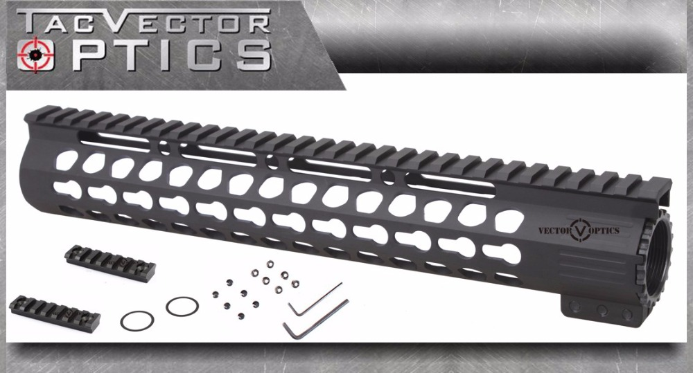 Tactical AR 15 Slim KeyMod 12 inch Tactical Free Float Handguard Picatinny Rail Mount Bracket with Steel Barrel Nut fit AR15 M4 vector optics tactical 308 slim keymod 17 inch free float handguard picatinny rail mount scope bracket fit ar10 ar 10 308