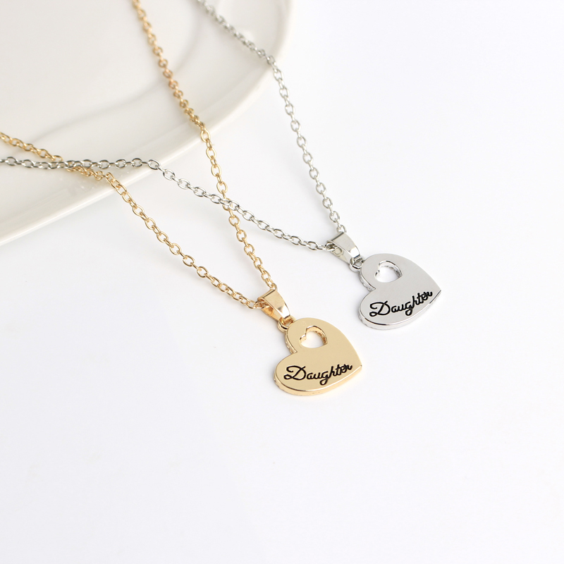 Mother Daughter Necklaces beautiful font necklace mom hollow heart ...