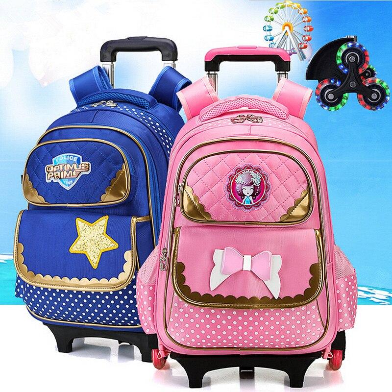ФОТО Fashion flash 2/6 Wheels Girls Waterproof School Bag Boy Backpack Trolley Bag Children School Bags Kids Wheeled Bags Backpack