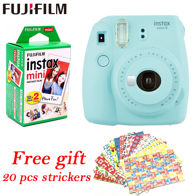 Fujifilm Instax Mini 9 Instant fuji Camera+ 20 sheets films Photo Camera Pop up Lens Auto Metering Mini Printing Digital Camera