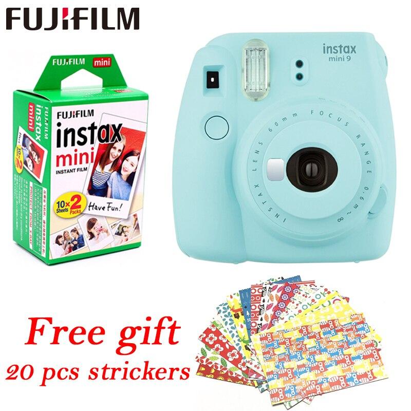 Fujifilm Instax Mini 9 cámara instantánea fuji + 20 hojas películas cámara de fotos lente emergente Auto medición Mini cámara Digital de impresión