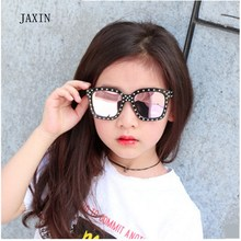 JAXIN 2019Fashion Square Sunglasses Boy Big Frame with Drilled Girl Trend New Kids Sun Glasses Outdoor Travel Goggles