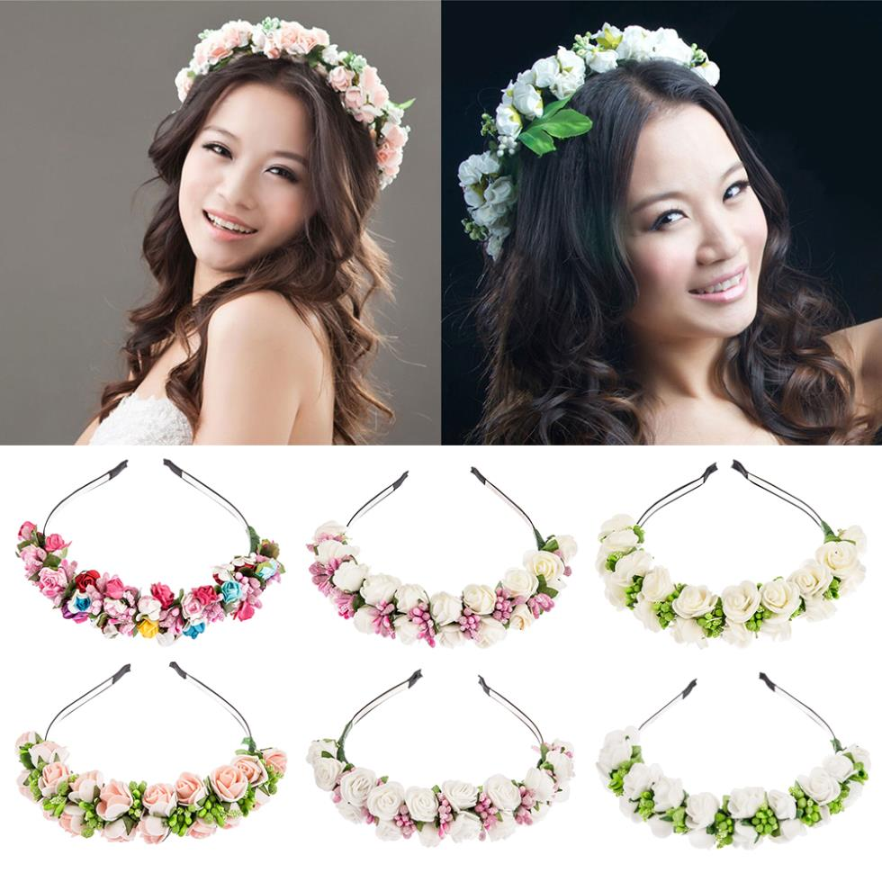 Flower Garland Floral Bride Headband Hairband Wedding Party Prom Festival Decor Princess Floral Wreath Headpiece 55